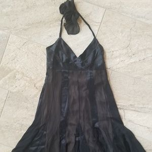 BCBG black silk halter dress size 6